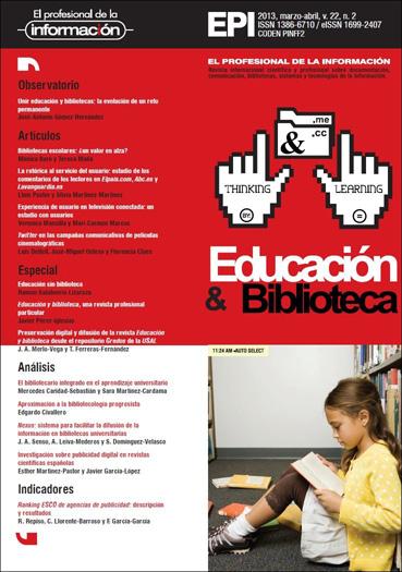 Ver Vol. 22 Núm. 2 (2013): Educación y biblioteca