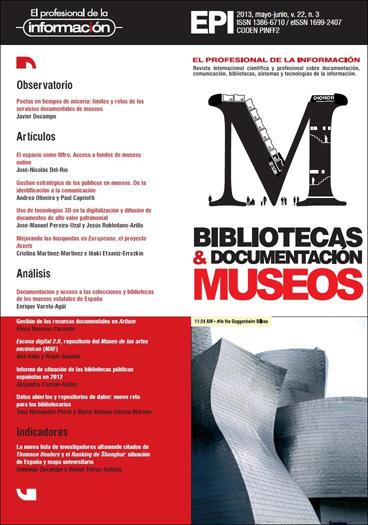 Ver Vol. 22 Núm. 3 (2013): Bibliotecas y documentación de museos