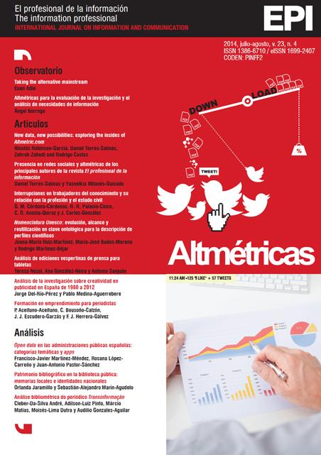 Ver Vol. 23 Núm. 4 (2014): Altmétricas