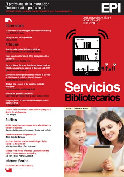 Ver Vol. 24 Núm. 2 (2015): Servicios Bibliotecarios