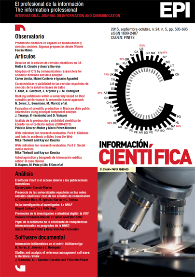 Ver Vol. 24 Núm. 5 (2015): Información científica