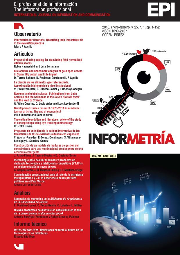 Ver Vol. 25 Núm. 1 (2016): Informetría