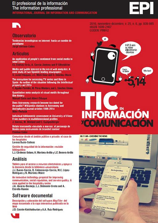 Ver Vol. 25 Núm. 6 (2016): TIC en información y comunicación