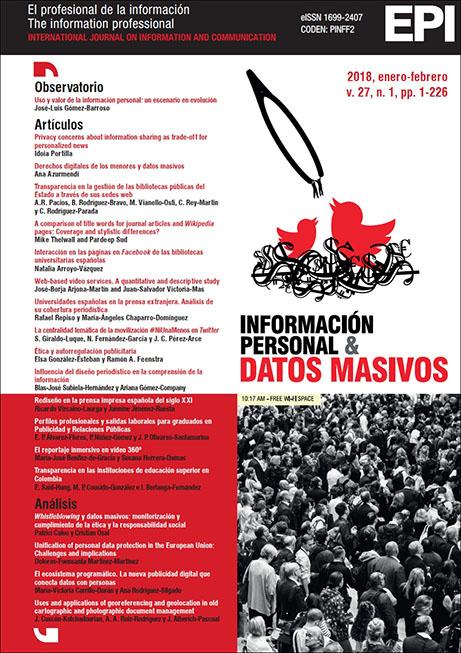Ver Vol. 27 Núm. 1 (2018): Información personal y datos masivos