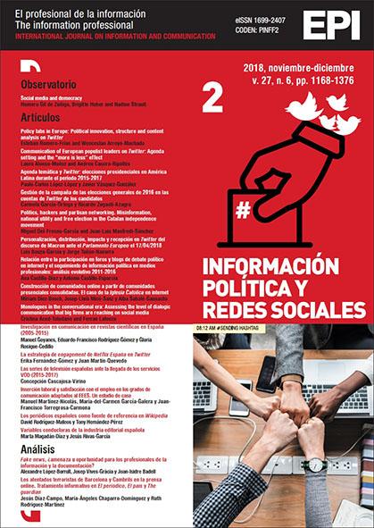 Ver Vol. 27 Núm. 6 (2018): Información política y redes sociales (II)
