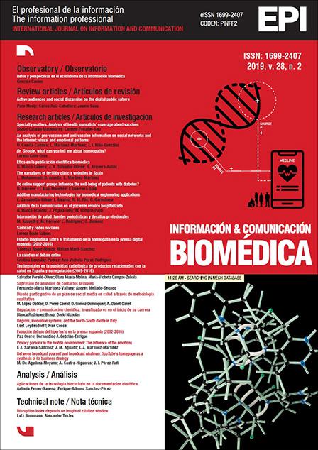 Ver Vol. 28 Núm. 2 (2019): Información y comunicación biomédica