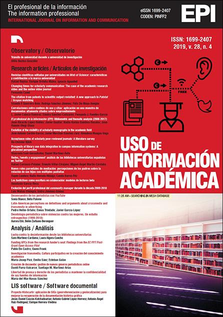 Ver Vol. 28 Núm. 4 (2019): Uso de información académica