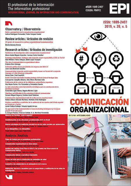Ver Vol. 28 Núm. 5 (2019): Comunicación organizacional / Organizational communication