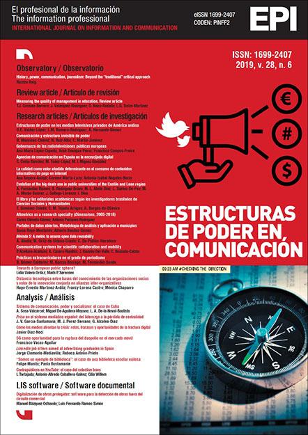 Ver Vol. 28 Núm. 6 (2019): Estructuras de poder en comunicación