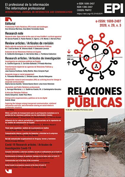 Ver Vol. 29 Núm. 3 (2020): Relaciones Públicas