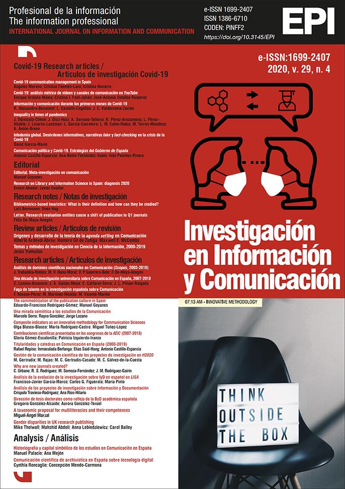 Ver Vol. 29 Núm. 4 (2020): Investigación en Información y Comunicación