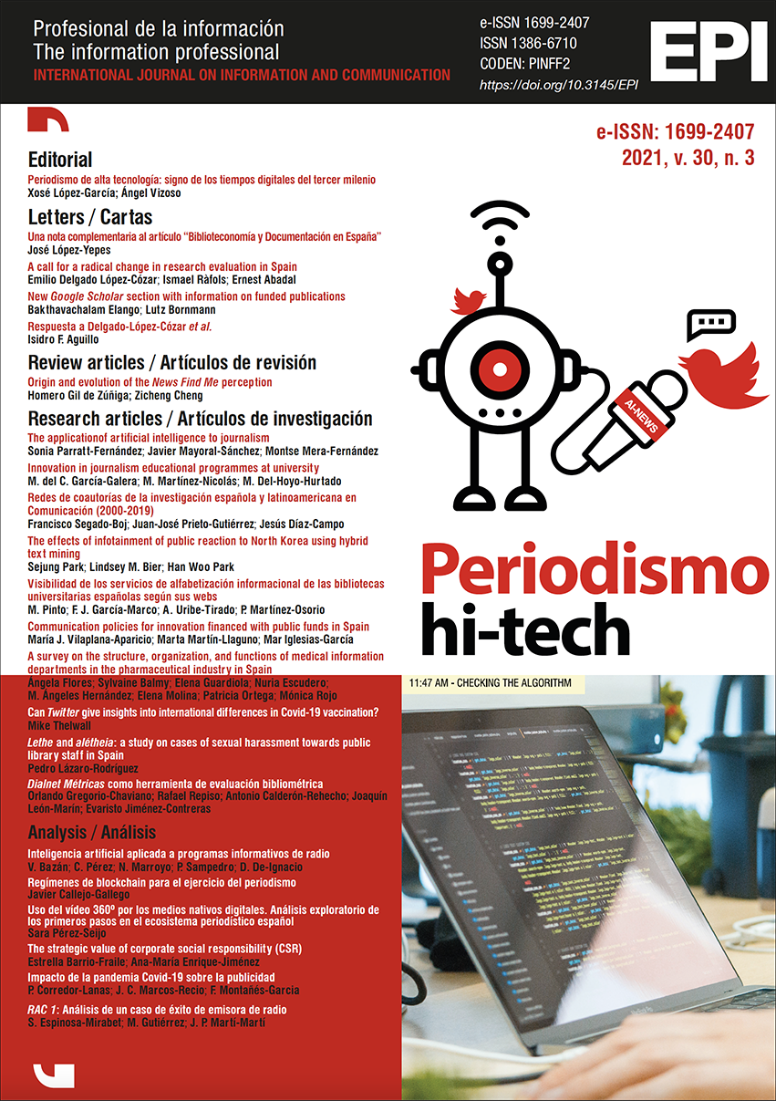 Ver Vol. 30 Núm. 3 (2021): Periodismo hi-tech
