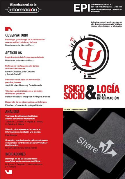 Ver Vol. 20 Núm. 1 (2011): Sociología y psicología de la información
